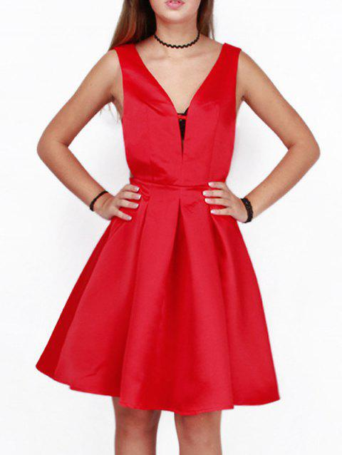 Cut Out A Line Cocktail Dress - RED S