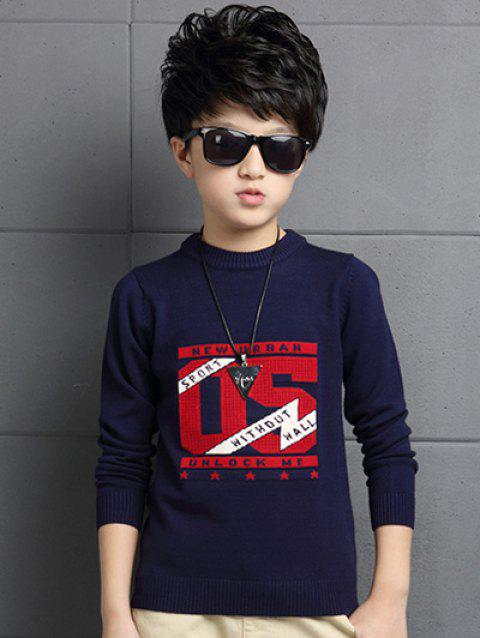 Crew Neck Number Pattern Sweater - CADETBLUE 120