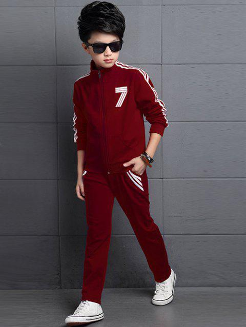 Striped Number T-Shirt + Stand Collar Jacket + Pants - WINE RED 150