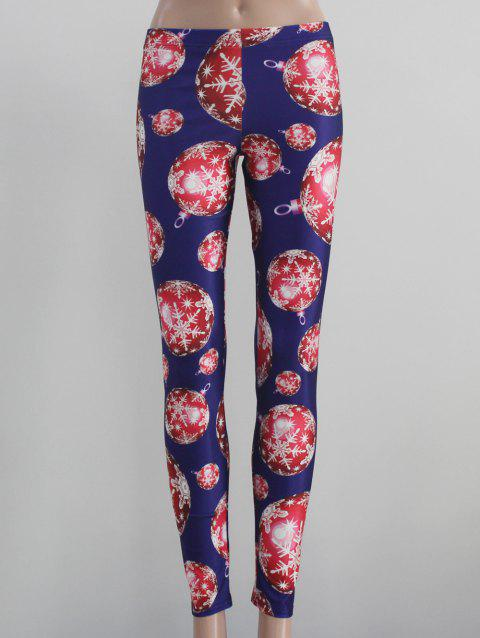 Stretch Snowflake Print Leggings - BLUE L