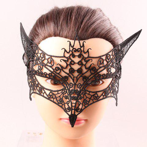 Goddess Upper Half Face Hollow Out Black Lace Carnival Masquerade Masks - BLACK