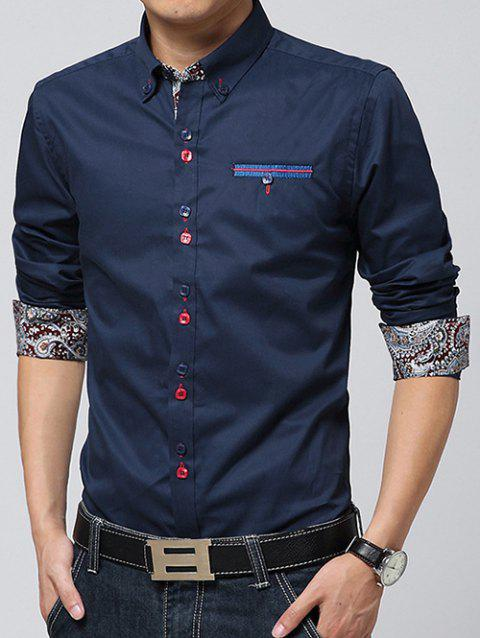 Paisley Print Lining Embroidered Button-Down Shirt - CADETBLUE 2XL