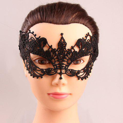 Mystical Half Face Hollow Out Black Lace Carnival Masquerade Masks - BLACK
