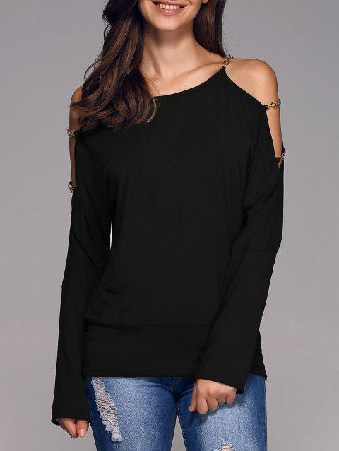 330703a7548 2019 Chains Embellished Cold Shoulder Blouse In BLACK M