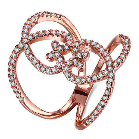 Filigrane Coeur strass Bague - Or de Rose 7