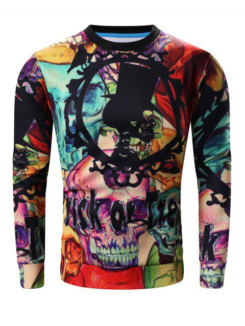 Round Neck Long Sleeve 3D Halloween Letter and Skull Print Sweatshirt - COLORMIX XL
