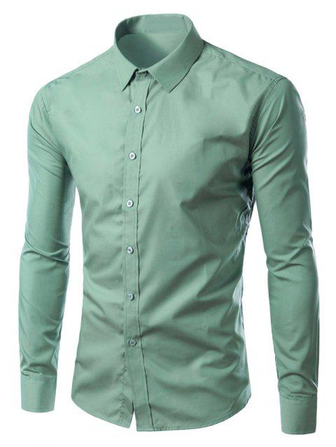 Long Sleeves Candy Color Turn-down Collar Shirt - SAGE GREEN M