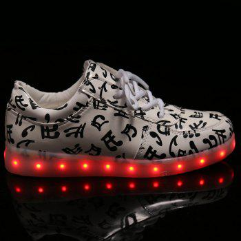 Chic Lights Up Led Luminous and Musical Note Print Design Women's Athletic Shoes