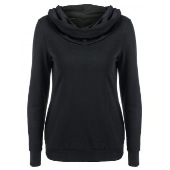 Casual Solid Color Lace-Up Sweatshirt - BLACK XL