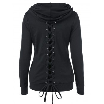Casual Solid Color Lace-Up Sweatshirt