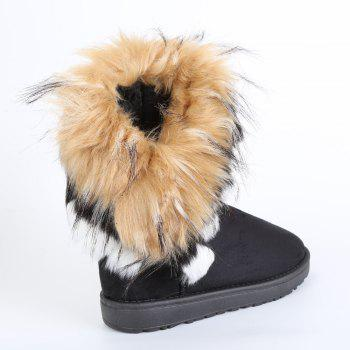 Faux Fur Snow Boots - BLACK 38