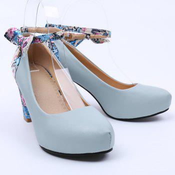 Stylish Splicing and Floral Print Design Women's Pumps - LIGHT BLUE 39