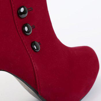 Suede Button Mid Calf Boots - 37 37
