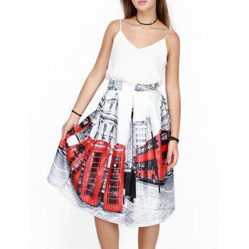 High Waist Bus 3D Print Puff Skirt