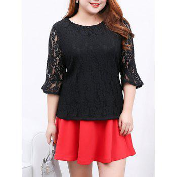 Flare Sleeves Laciness Blouse