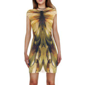 Dragonfly 3D Print Slimming Bodycon Dress