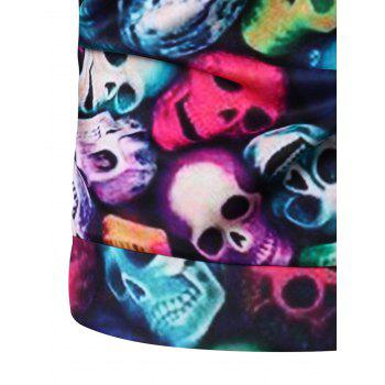 Round Neck Long Sleeve 3D Colorful Skull and Halloween Pumokin Print Sweatshirt - COLORMIX XL