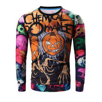 Round Neck Long Sleeve 3D Colorful Skull and Halloween Pumokin Print Sweatshirt