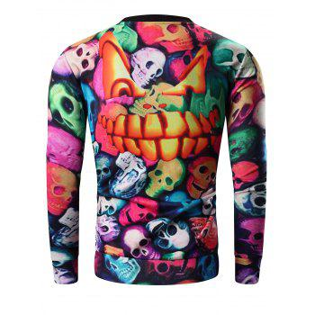 Col rond manches longues 3D Colorful Skull and Halloween Pumokin Imprimer Sweatshirt - multicolore M