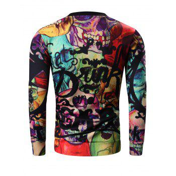 Round Neck Long Sleeve 3D Halloween Letter and Skull Print Sweatshirt - COLORMIX 3XL