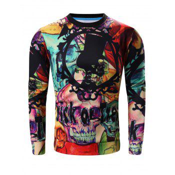 Round Neck Long Sleeve 3D Halloween Letter and Skull Print Sweatshirt