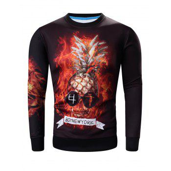 Round Neck Long Sleeve 3D Abstract Pineapple Skull Print Sweatshirt
