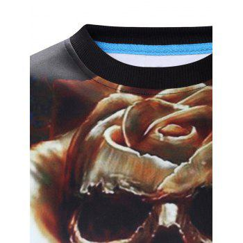 Round Neck Long Sleeve 3D Halloween Pumpkin Lamp and Skull Print Sweatshirt - COLORMIX XL