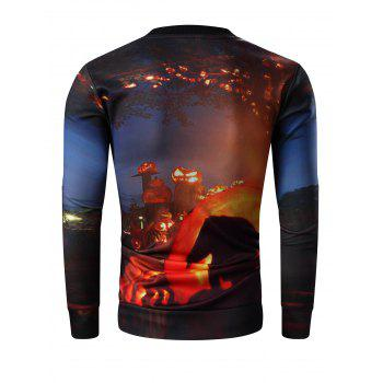 Round Neck Long Sleeve 3D Halloween Pumpkin Lamp and Skull Print Sweatshirt - COLORMIX M