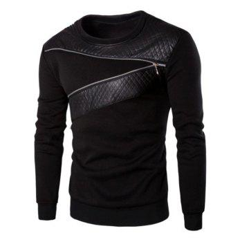 Zipper Design PU Leather Panel Sweatshirt