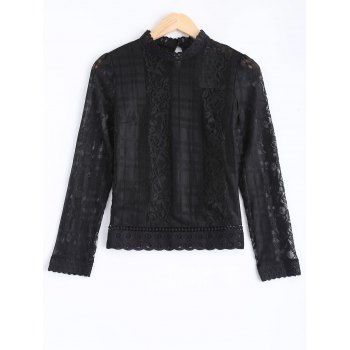 Hollow Out Lace Splicing Blouse
