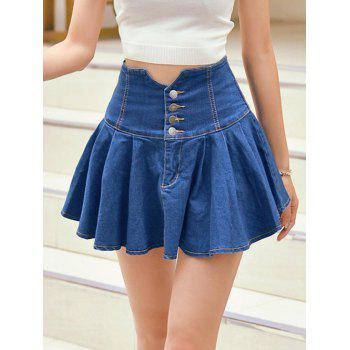 High Waist Buttoned Denim Skirt