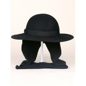 Wide Brim Bowknot Strappy With Scarf Wool Fedora Hat