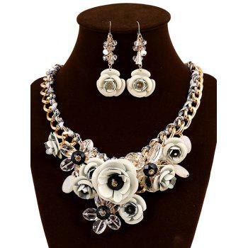 Faux Crystal Flower Statement Jewelry Set