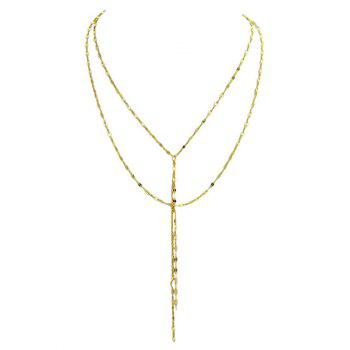 Layered Y Shaped Engraved Flame Necklace