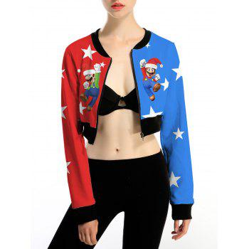 Color Block Christmas Crop Jacket