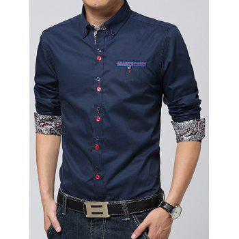 Paisley Print Lining Embroidered Button-Down Shirt