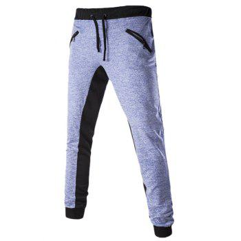 Zippered Drawstring Color Splicing Jogger Pants