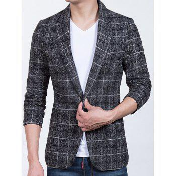 Plaid Sleeve Buttons Design One-Button Blazer