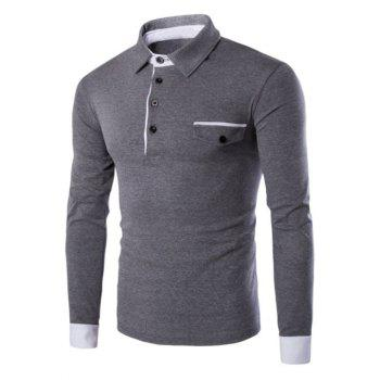 Button Up Contrast Spliced Long Sleeve Polo Shirt