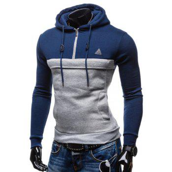 Zip Up Color Splicing Drawstring Pullover Hoodie - BLUE 2XL