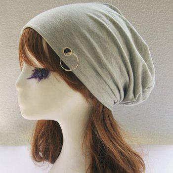 Autumn Metal Circle Hoop Embellished Double-Deck Slouchy Beanie