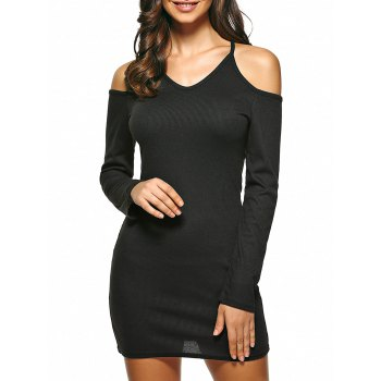 Crossed Back Cold Shoulder Knit Dress
