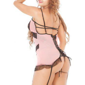Laciness Hollow Out Lace Up Babydoll - PINK 2XL