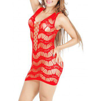 Hollow Out Airtex Bodycon Babydoll