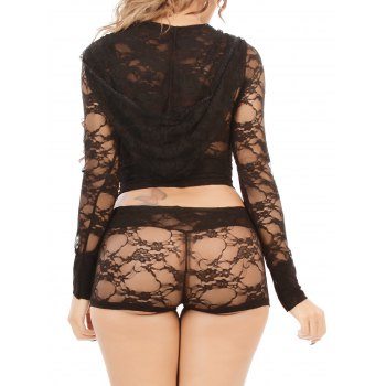 Lace Hooded Crop Top and Shorts Set - BLACK 2XL