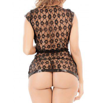 See-Through Lace Tied Cardigan and T-Back - BLACK XL