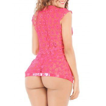 See-Through Lace Tied Cardigan and T-Back - ROSE MADDER XL