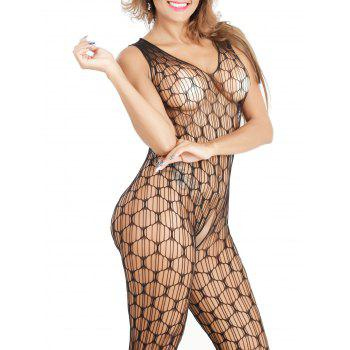 See-Through Airtex Cut Out Pyjamas - Noir ONE SIZE