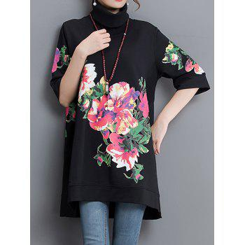 Asymmetrical Floral Print Sweatshirt Dress
