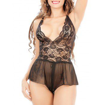 Plunging Neck Criss Cross Lace Mesh Teddy